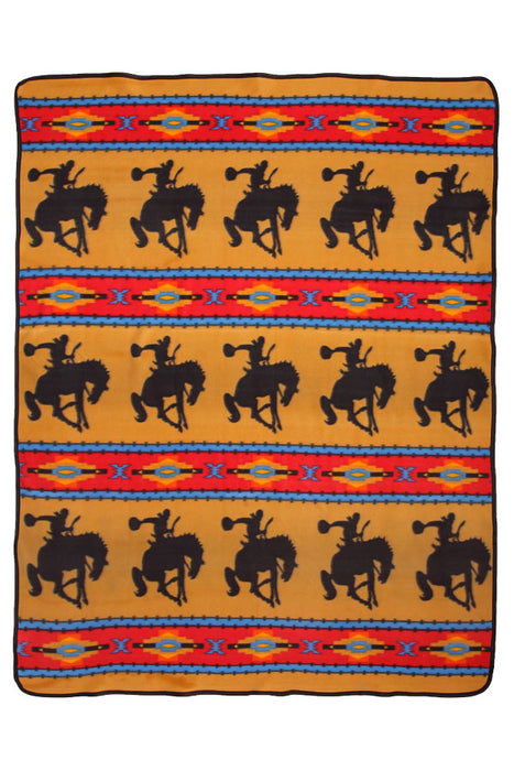 Southwest Fleece Lodge Blanket in Bucking Horse design from El Paso Saddleblanket