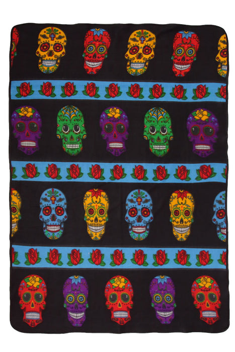 Southwest Fleece Lodge Blanket in Day of the Dead design from El Paso Saddleblanket
