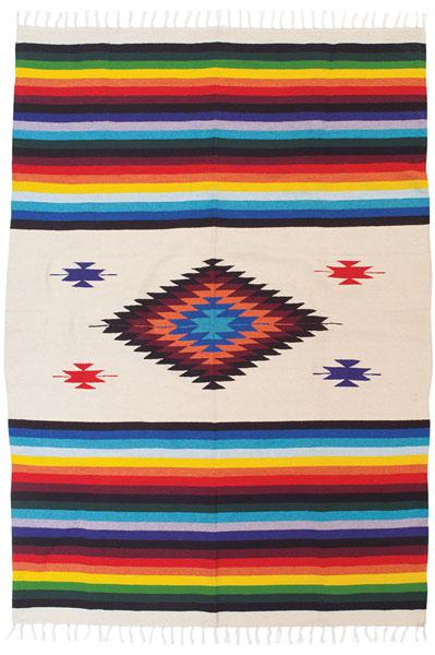 Brightly Colored Handwoven Mazatlan Style Throw Blanket from El Paso Saddleblanket