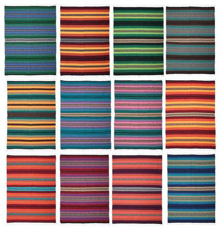 Psychedelic Colored Southwest Peyote Falsa Blankets from El Paso Saddleblanket