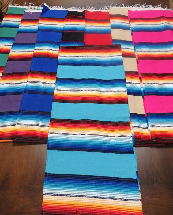 "12 Assorted Color Popular 13""x72"" Serape Runners! Wholesale $5.25 ea.!"