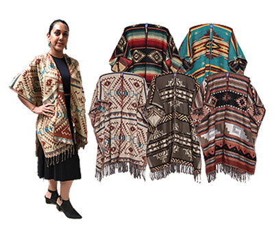 NEW!! 5 Classic Southwest Ruana Package Deal! Wholesale $16.50 ea.