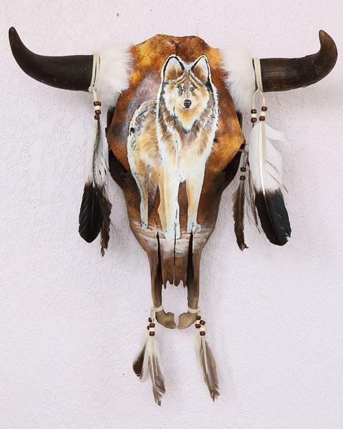 Handpainted Cowskull-Wolf Design WHOLESALE $64 EA.