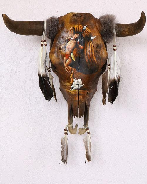 BEAUTIFUL Ceremonial Dance Hand Painted Skull! WHOLESALE $64 ea!