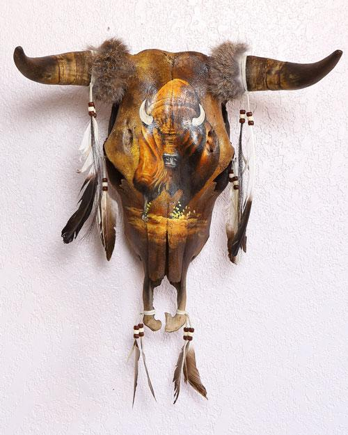 BEAUTIFUL Hand Painted Buffalo SouthWest Skull! WHOLESALE $64 ea!