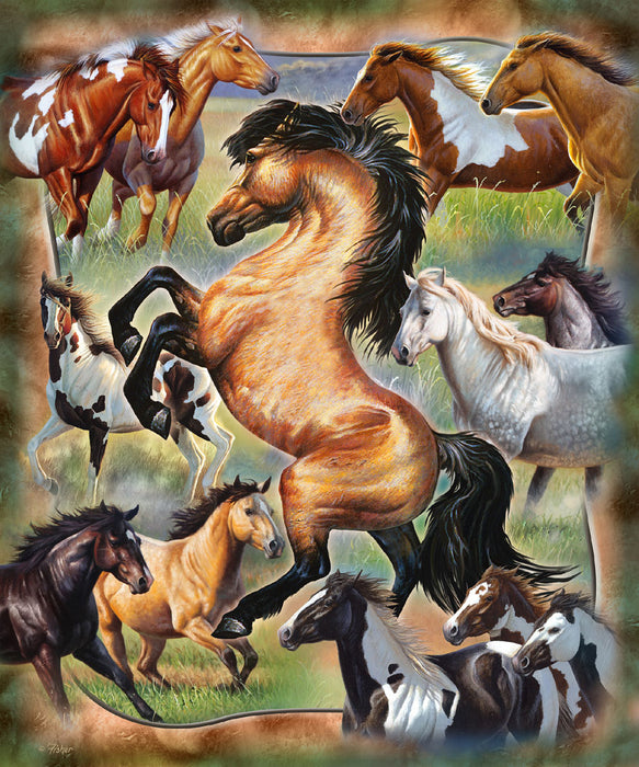 Heavy Fleece Pictorial Blanket-Wild Run