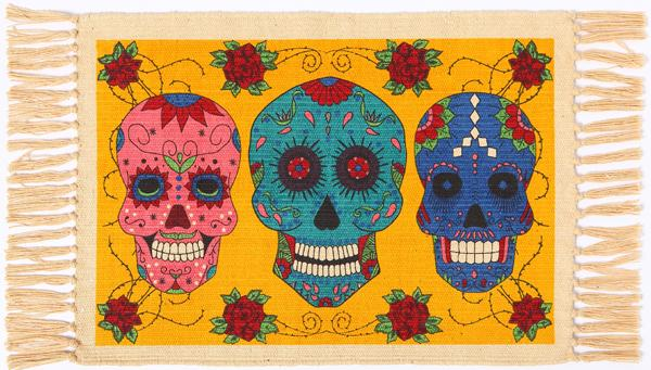 "Day of the Dead Cotton Stencil Place Mat 13""x 19""   220"