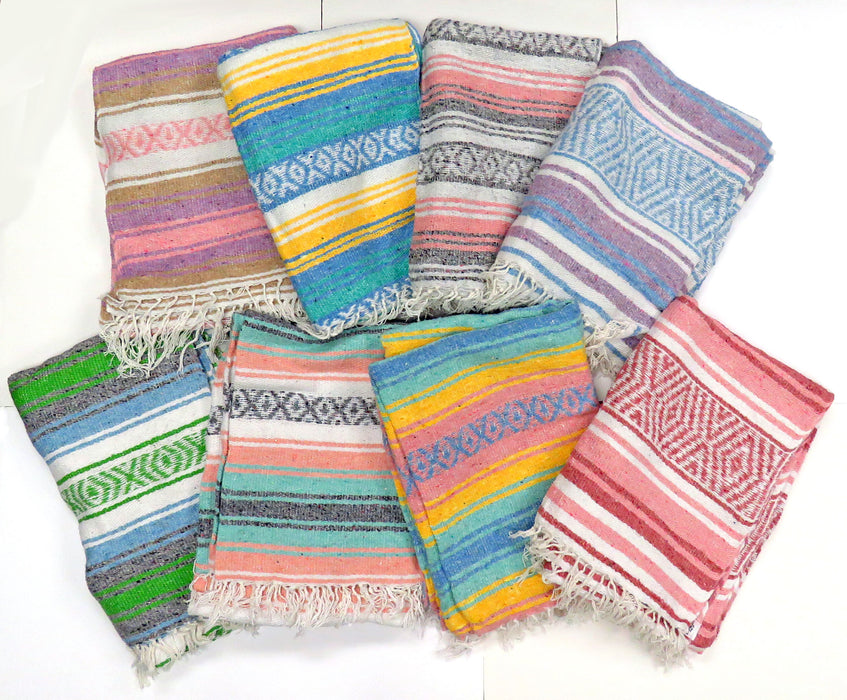 24 Pack Pastel Falsa Blankets from Mexico! Wholesale- $9.00 each!