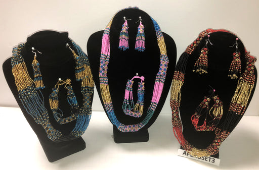 3 Handcrafted  3 Piece Beaded Jewelry Sets !  Wholesale $15 ea.!