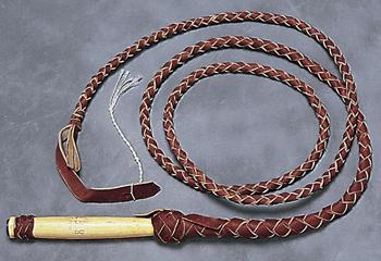 First Grade Bull Whip with Wooden Handle - 6 foot