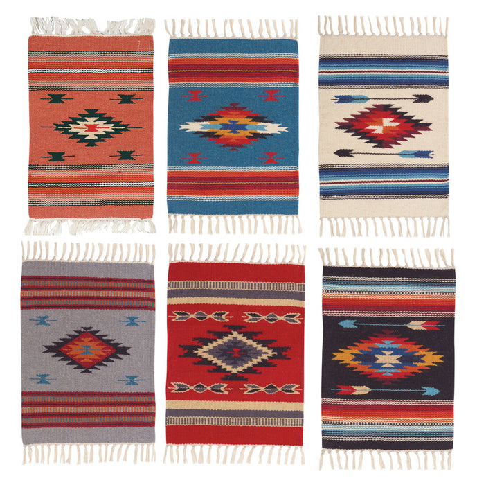 "Handwoven Wool Chimayo Style Table Mats in size 15"" x 20"" from El Paso Saddleblanket"
