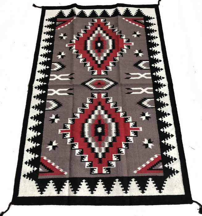 4' x 6' HANDWOVEN WOOL TRADING POST RUG 786