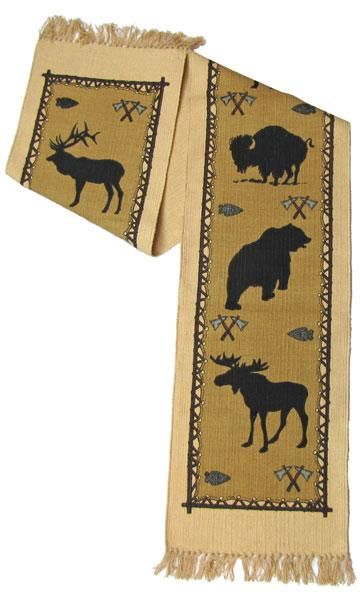 Cotton Table Runner - Wildlife, Vertical