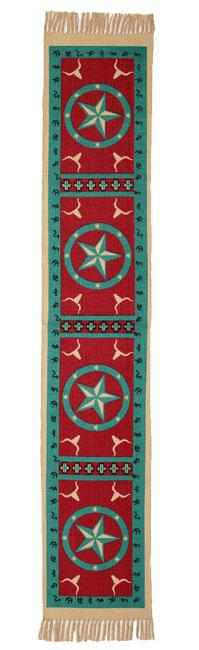 Cotton Table Runner - Turquiose Star Design