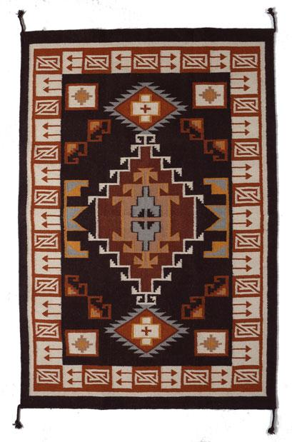 4' x 6' HANDWOVEN WOOL TRADING POST RUG 789D