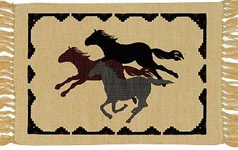 Cotton Stencil Placemat - Wild Horses