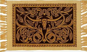 Cotton Stencil Placemat - Leather Tooled