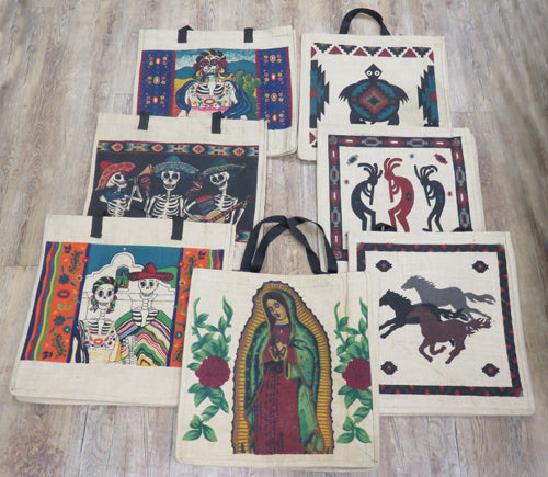 12 Assorted Design Jute Bags! Wholesale $4.00 Ea.!