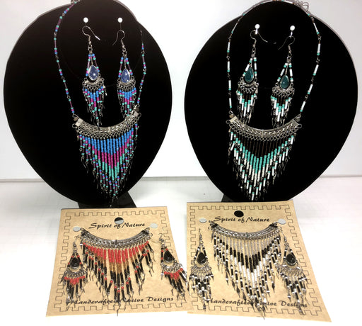 4- Handcrafted  2 Piece Beaded Jewelry Sets ! Wholesale $8 each set!