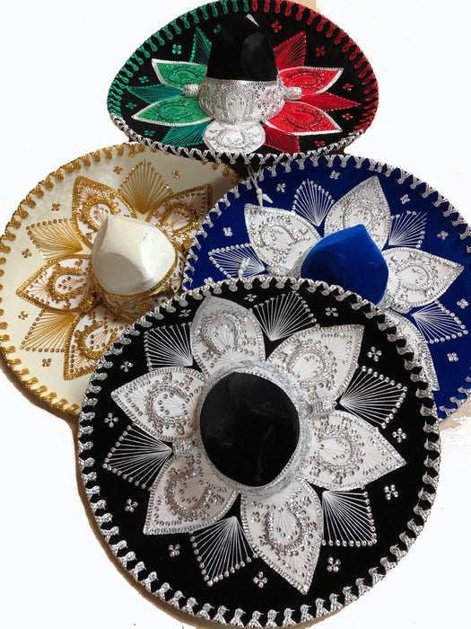 "Mexican Colorful Charro Style Sombrero 16"" - 18""  wide."
