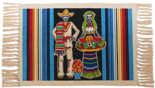 Cotton Stencil Placemat - Day of the Dead 215