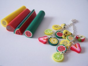 LOT DE 50 CANES FIMO FRUIT POLYMÈRE