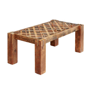 Plaid Pattern Coffee Table - Wood and Resin