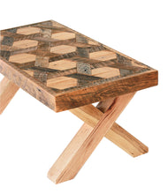 Geometric Pattern Wood Coffee Table with Hairpin Legs