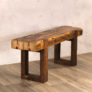 Hand Hewn Beam Bench