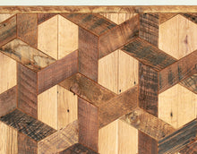 Geometric Pattern Wood Coffee Table