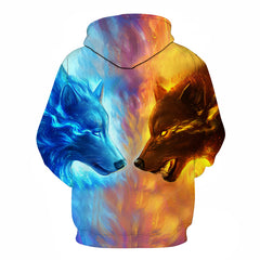 Fire and Ice Wolf 3D Hoodie