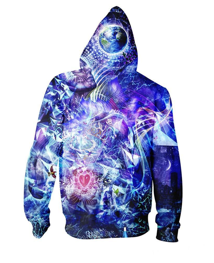 Blue Dimension 3D Zip-Up Hoodie