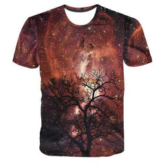 Red Galaxy Tree 3D T-Shirt