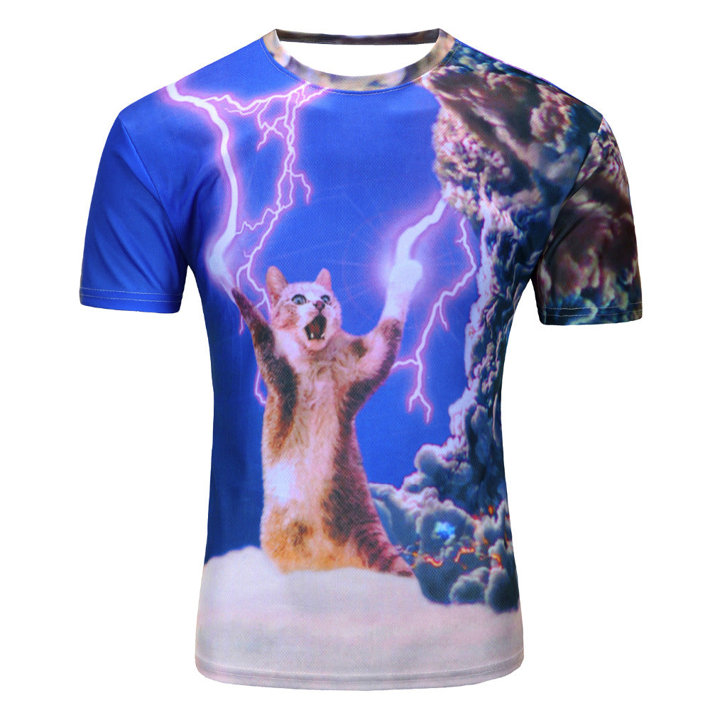 NEW 3D Lightning Cat T-Shirt