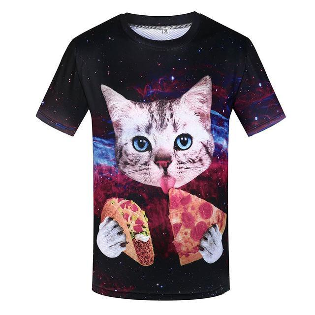 3D Space Cat Eating Pizza & Taco T-Shirt