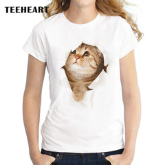 3D Cute Cat Women's T-Shirts