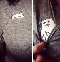 New for Summer! Crazy Cute Cat in My Pocket Shirt