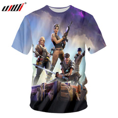 UJWI Fortnite T-shirts New Arrival Men Cool Print 3d Skull Shirts Hombre Short Sleeved Breathable Tshirt Undershirt Fitness Tops
