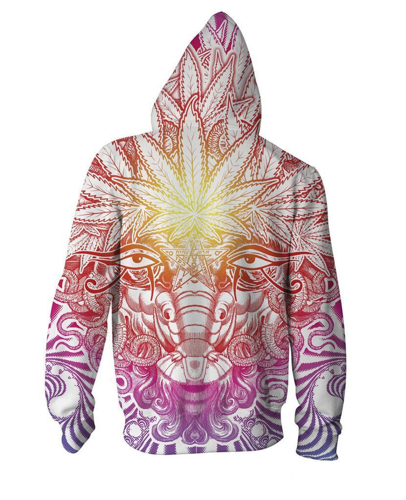 Marijuana God 3D Zip-Up Hoodie
