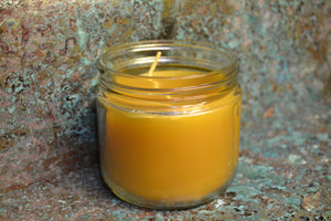 Beeswax candle in a glass honey jar 3""