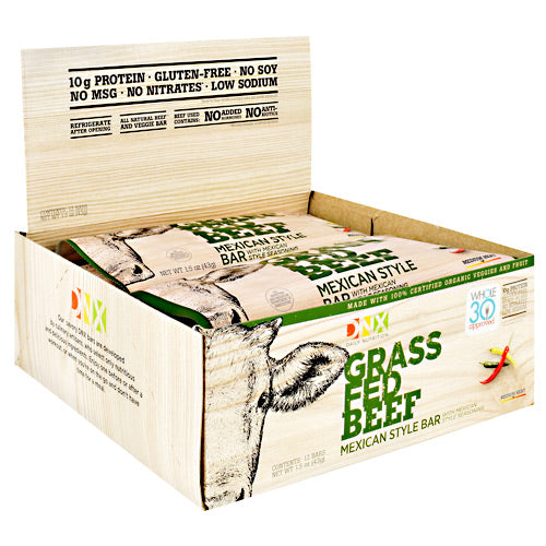 DNX Bars Grass Fed Beef Bar - Mexican Style - 12 Bars - 685239665147