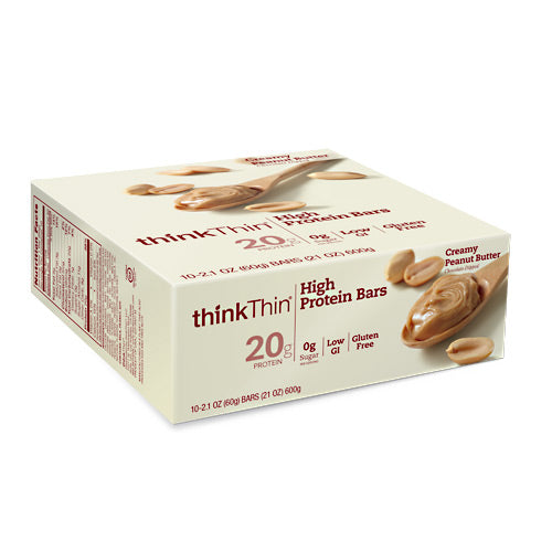 Think Products Think Thin Bar - Creamy Peanut Butter - 10 Bars - 753656701400