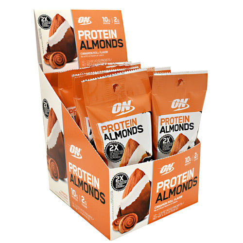 Optimum Nutrition Protein Almonds - Cinnamon Roll - 12 Packets - 748927958430