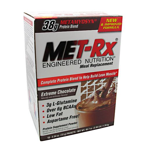 Met-Rx USA Meal Replacement - Extreme Chocolate - 18 Packets - 786560187022