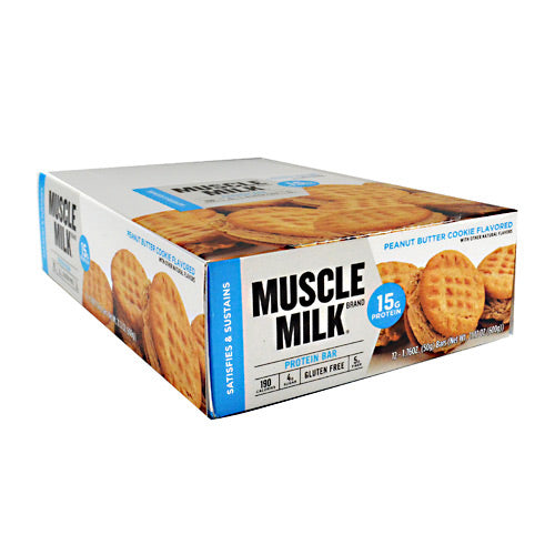 Cytosport Blue Muscle Milk Bar - Peanut Butter Cookie - 12 Bars - 660726525197