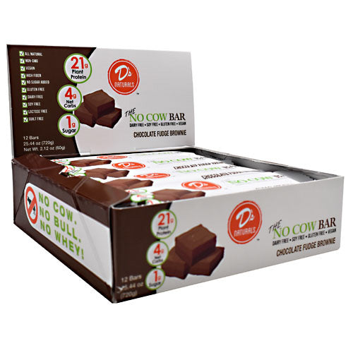 Ds Naturals No Cow Bar - Chocolate Fudge Brownie - 12 Bars - 852346005542