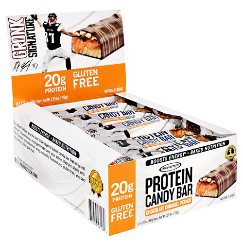 Muscletech Gronk Signature Protein Candy Bar - Chocolate Caramel Peanut - 12 Bars - 631656561289