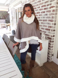 Grey Knit poncho with winter white faux fur trim