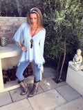 Boho knit Top in baby blue