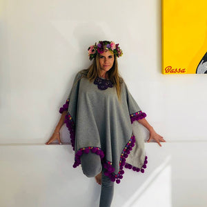 Grey Poncho with Purple pom
